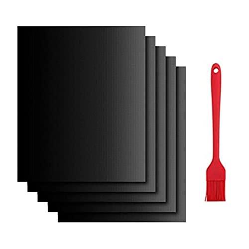 Nifogo BBQ Grillmatte für gasgrill, Grillmatte für den BBQ, Teflon Antihaft Grillmatten, Grillunterlage für Gasgrill, Pflegeleicht und Wiederverwendbar für bis 260°C/500℉, 1 Grillbürste(5er Set)