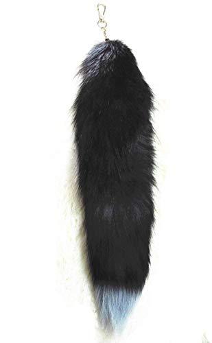 True Decor Real Fox Tail Fur Handbag Accessories Cosplay Toy Keychain Ring Hook, Blck, Large