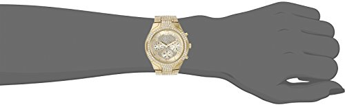 GUESS Women's Gold-Tone Stainless Steel Crystal Embellished Bracelet Watch with Day, Date + 24 Hour Military/Int'l Time. Color: Gold-Tone (Model: U0628L2)