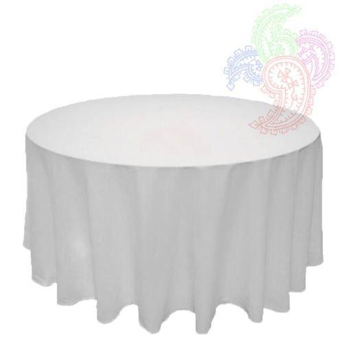 Weiße Runde Tischdecke Leinen Bankett Poly Nahtlos Tischdecke ALLE GRÖßEN ERHÄLTLICH - Weiß, 108 INCH