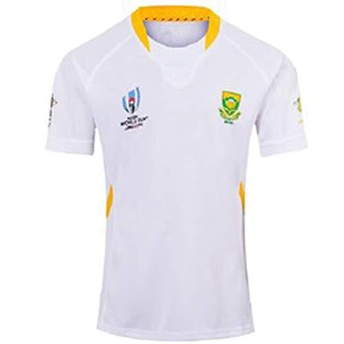 Rugby-Trikots 2019 Japan World Cup Südafrika Fußball-Trikot Polo-Shirt, Wettkampftraining Sweatshirt schnell trocknende atmungsaktive Stickerei Polyesterfaser White-S