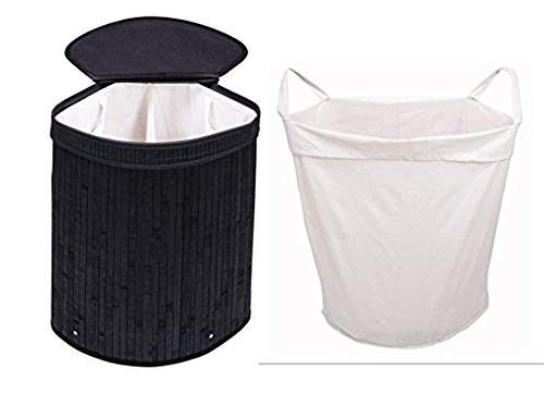 Adorn Home Essentials Black Adorn Home Corner Laundry Hamper with Attached Hinged Lid |Single and Double Cloth Handle on Basket and Liner | Collapsible | Espresso Bamboo (Blac
