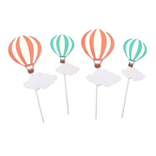 TOYMYTOY Palillos para decoración de tartas, globos aerostáticos, nubes, arco iris, diseño de piruletas para tarta de cumpleaños, decoración de 20 unidades