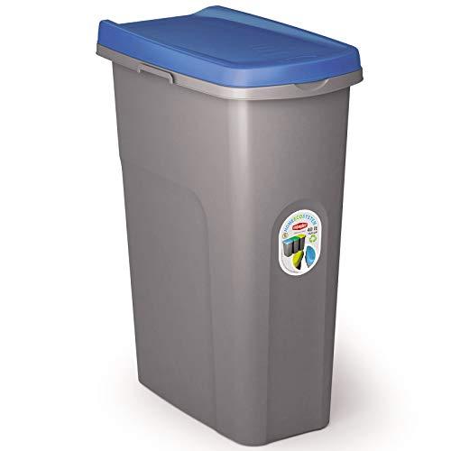 #11 40L Mülleimer blau Deckel Recycling Mülltrennung Abfalleimer Abfallbehälter Müll Küche rechteckig Abfallsammler 40 Liter Kunststoff Eimer Mülltonne Schmal Müllsackhalterung Abfall Papierkorb