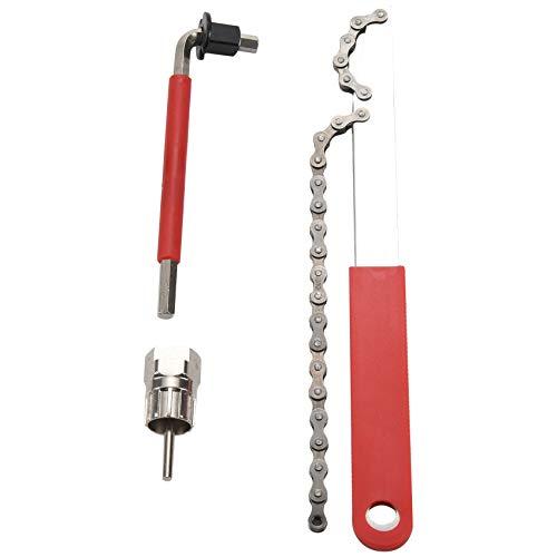 Fransande Herramienta de extracción de casete de bicicleta con látigo de cadena y llave auxiliar para piñón de bicicleta, herramientas de extracción de piñón