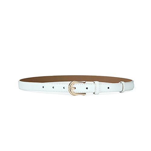 GHYSTORM Weich Mode Schlanke, minimalistische Jeans mit Lederbesatz für Damengürtel, weiß, 87-90 cm