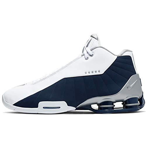Nike Mens Shox BB4 Basketball Shoes (13, White/Metallic Silver/Midnight Navy)