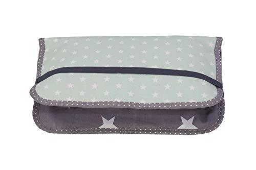 ULLENBOOM® bolsa para pañales menta gris (Fabricada en la UE) - bolso de pañales para hasta 3 pañales, toallitas húmedas y otros accesorios, estuche de pañales con cremallera y banda elástica