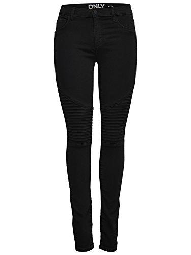 ONLY Damen onlRAIN REG SK Fresh Biker CRY6060 Slim Jeans, Schwarz, 34/L32 (Herstellergröße: XS)
