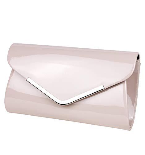 Schompi Bolso Tipo Clutch Para Mujer, Con Cadena De Hombro Desmontable, Charol, Color:Beige