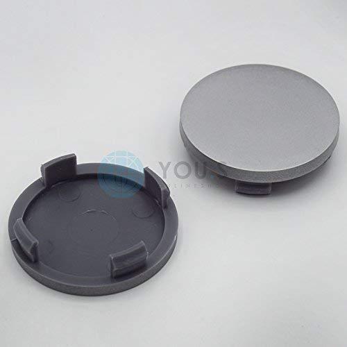 2 X YOU.S Cache-Moyeux Couvercle D'Enjoliveur, Couvercle de Jante 55,0-50, 0 mm - Argent