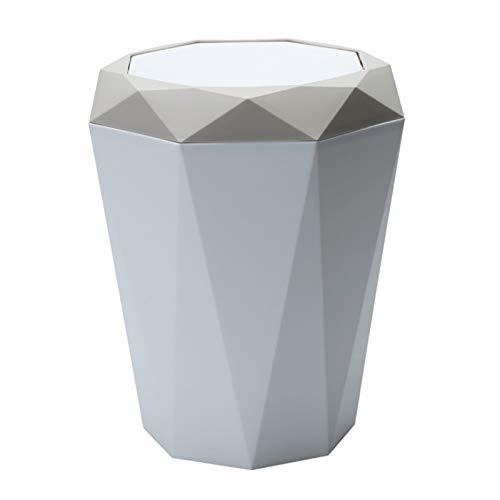 Fenteer Papelera de plástico Papelera de reciclaje Papelera - Contenedor de papel de desecho con tapa - para dormitorio Baño Sala de estar Oficina - Mantenga su casa limpia y ordenada - Beige