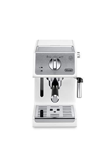 De'Longhi Active Espresso Siebträger ECP 33.21.W – professionelle Esspressomaschine mit Aluminium-Finish, inkl. traditioneller Milchschaumdüse, Tassenwärmer & Heißwasserfunktion, Weiß