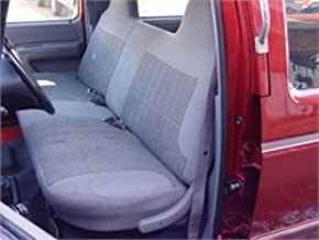 Durafit Seat Covers.Made to fit 1992-1997 Ford F150-F350 Regular, XCab and Crew Cab Front Solid Bench Seat with Molded Headrests Seat Covers in Gray Velour