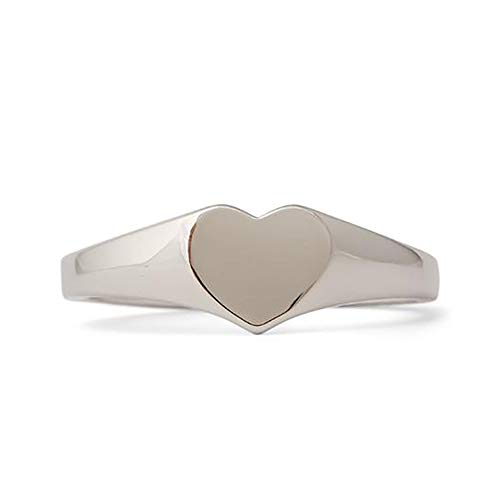 Pura Vida Silver-Plated Heart Signet Ring - Sterling Silver Band, Size 9