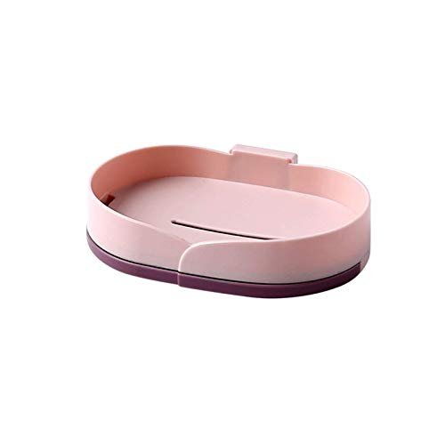 Essentiell tvålåda hemma Tvålrätt Kreativ roterande dubbelskikt Tvål Tvål Box med bricka Design längst ner i det icke-perforerade tvållagret för hushållsbadrum (Color : Pink, Size : Single layer)