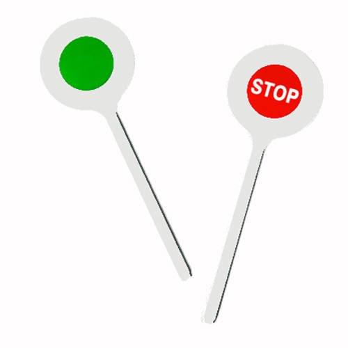 Polizeikelle Stop Winkerkelle ca 30 cm weiß und grün für Karneval von Alsino
