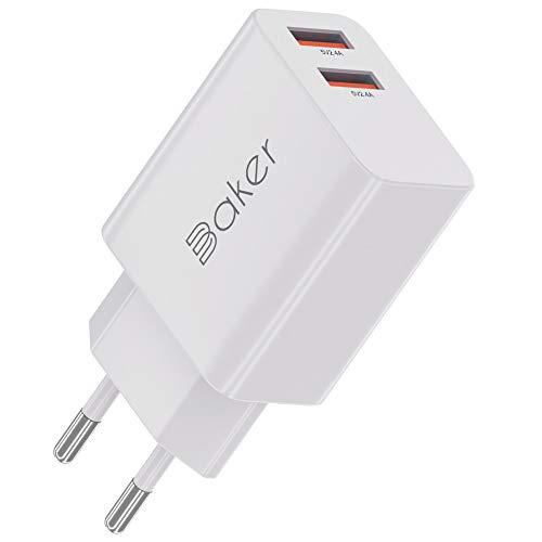 Baker Cargador rápido de pared con 2 puertos USB de 24 W para iPhone, iPad, Samsung Galaxy, Nexus, HTC, Motorola, LG y muchos más (blanco)
