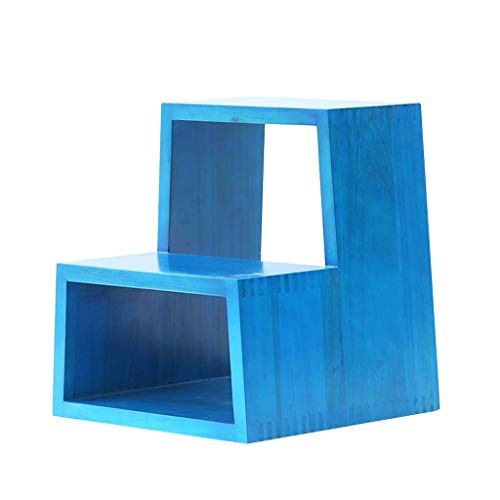 Tokyia 2-Paso de heces - Madera Maciza Taburete de Paso Flower Stand Multiuso Banco de Zapatos, Capacidad 150 kg (Azul) Fácil Almacenamiento y Transporte.