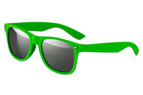Ciffre Nerdbrille Sonnenbrille Nerd Atzen Brille Pilotenbrille Neon Grün Matt Verspiegelt