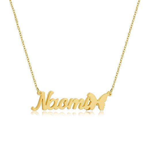 Lam Hub Fong Namenskette 925 Sterling Silber Halskette für Frauen mit Schmetterling anhänger Personalisierte halsketten für Frauen (Gold)