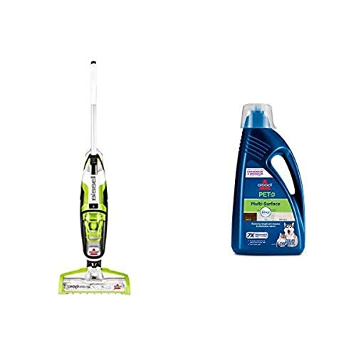 BISSELL CrossWave Floor and Carpet Cleaner with Wet-Dry Vacuum, 1785A - Green and Bissell, 2295L Multi-Surface Pet Formula with Febreze Feshness for Crosswave and Spinwave (80 oz)