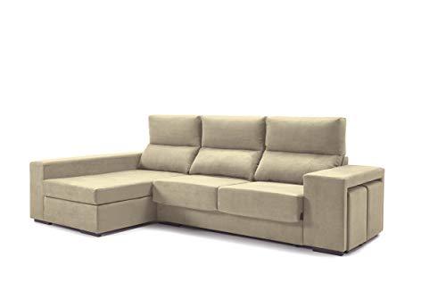 Home Heavenly®- Sofá ChaiseLongue, Marte, 3 plazas, tapizado Color Beige, Tratamiento Antimanchas, (Chaise Longue Izquierdo)