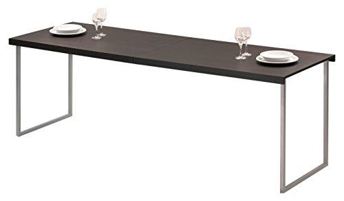 Butterfly Mesa de centro y comedor de diseño en acero cromado mate y sobres de madera roble color wengé, 4 posiciones distintas, acabados alta calidad