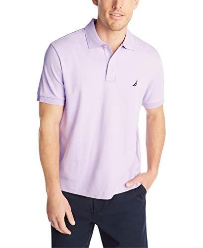 Nautica Men's Classic Fit Short Sleeve Solid Soft Cotton Polo Shirt, Lavendula, Large