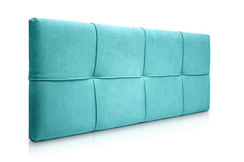 SUENOSZZZ-ESPECIALISTAS DEL DESCANSO Cabecero de Cama tapizado, Modelo Square para Camas de 90 (100 x 57 cm) Tela Turquesa