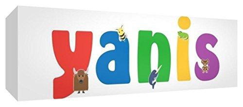 Little Helper Leinwand Box Galerie verpackt mit farbigem Front Panel illustrativen Stil mit dem Namen de jeune Jungen Yanis 15x 42x 3cm klein