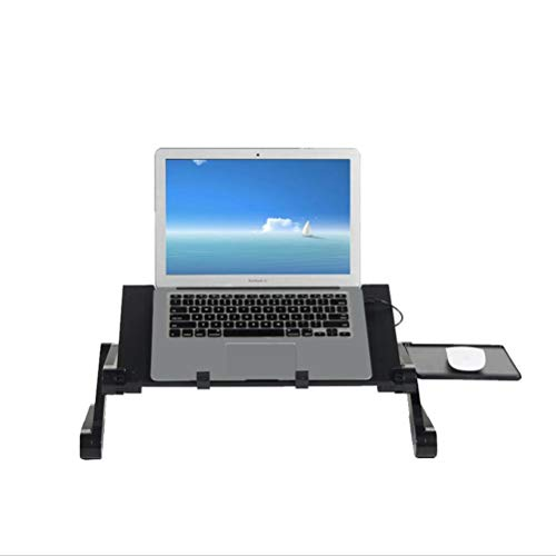 sogesfurniture Foldable Laptop Desk, Portable Laptop Stand for Bed and Sofa, Ergonomic Folding Laptop Riser Notebook Holder with USB Dual Cooling Fans and Mouse Platform, BHEU-JHYL-803-BK