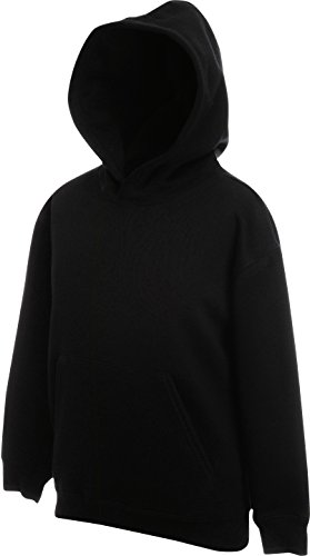 Fruit of the Loom - Classic Kinder Kapuzen-Sweatshirt 'Kids Hooded Sweat' 128,Black