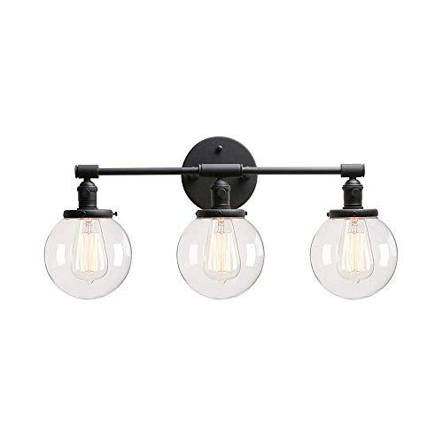 ZSML Vintage Black Orb Lights Aplique de Pared con Pantalla de Vidrio Transparente Iluminación de Aplique de Pared Iluminación Creativa de tocador Bombillas LED para baño, vestidor, Dormitorio