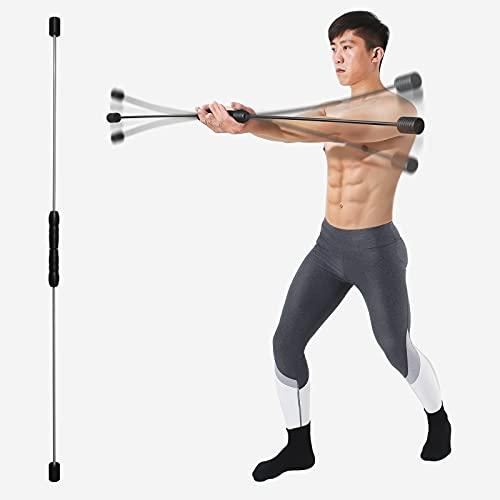 ANGLER DREAM Elastic Fitness Stick Detachable Total Body Exercise Bar Glass Fiber Shoulder Rehabilitation Equipment for Physical Therapy, Aerobics, Yoga, Pilates(Black)