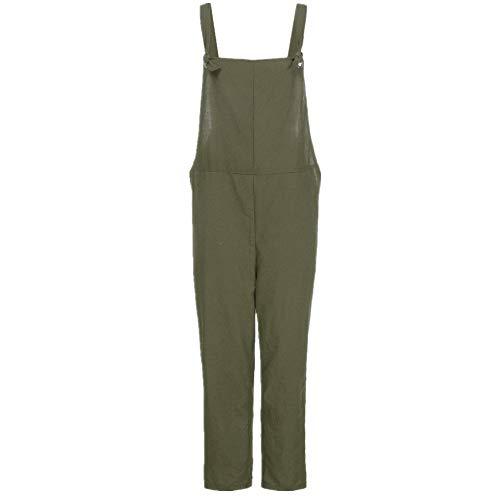 N\P Las Mujeres Sueltas Dungarees Suelto Color Sólido Mono Bolsillos Largos Peleles Mono Pantalones Pantalones