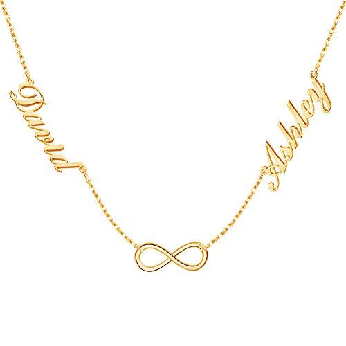 Dreamdecor Namenskette Silber Personalisiert, Damen Namenskette 2/3Namen, Kette mit Namen Herz Unendlich Anhänger, Familie Geschenk für Geburtstag Valentinstag Jahrestag
