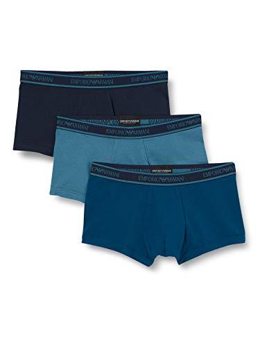 Emporio Armani Underwear Herren 3-Pack Trunk Unterwäsche, ORTENSIA/Opale/MARIN-Hortensia/Opal/MARIN, M