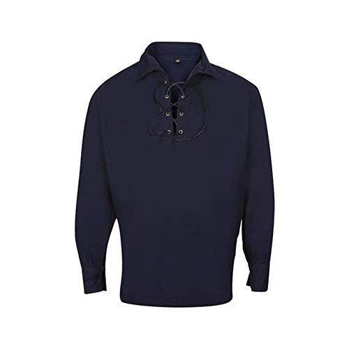 Herren Budget Deluxe UK Verkäufer Schottisch Jakobiten Ghillie Kilt Hemd in Marine Blau - Marine, S