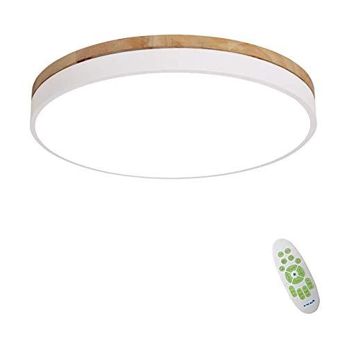 Lámpara De Techo LED Regulable Madera Maciza Techo Led Redondo Iluminación Interior Para Dormitorio Cocina, Plafones Empotrados Ultrafinos Modernos De 7 Cm, Con Mando A Distancia Regulable,Blanco,40cm