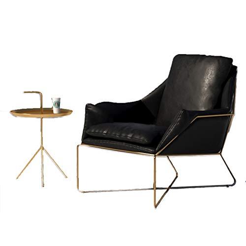 Sofá de cuero de la sola silla del sofá del ocio del dormitorio de la sala de estar, marco de acero único con los apoyabrazos rojo amarillo azul negro marrón negro