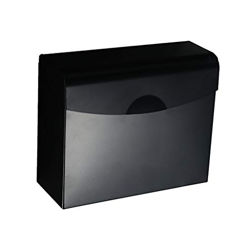WSWJ Bagno in Stile Europeo, Scatola Nera Chiusa per Tessuti, Bagno Porta Asciugamani in Acciaio Inox 304, portarotolo Dimensioni: 24,5 × 9,5 cm