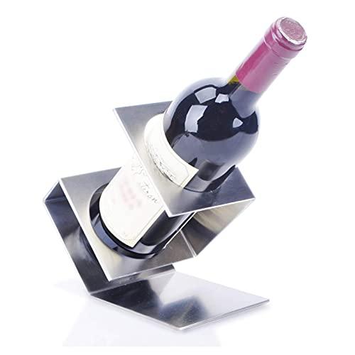 ZHBH Estante para Copas de Vino, Moderno, de Acero Inoxidable, para mostrador, para vinos, Soporte para Botellas, de pie, con Forma geométrica, para Bar, Cocina, Restaurante,