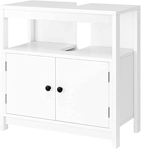 Mueble Debajo del Lavabo de 2 Puertas Mueble Debajo del Fregadero Mueble Bajo para Lavabo Mueble para baño Cocina Blanco 60x30x60cm