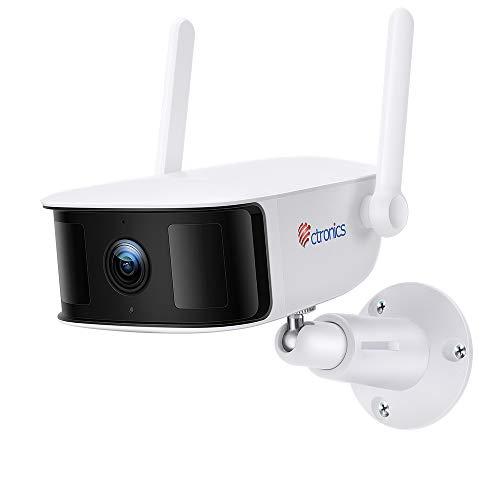 Övervakningskamera utanför med dubbla PIR-rörelsesensorer, 10 400 mAh batteri, 1080P Ctronics WLAN IP-kamera utomhus trådlös WiFi-kamera, tvåvägs ljud, IP66 vattentät, stöd SD-kort