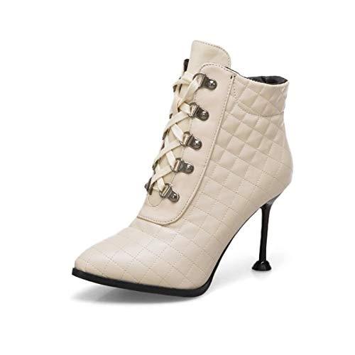 IWxez Dames Fashion Boots PU(Polyurethaan) Herfst & Winter Minimalisme Laarzen Stiletto Heel Aangewezen Teen Booties/Enkellaarzen Zwart/Beige/Licht Rood/Bruiloft/Feest & Avond, Beige, UK8.5