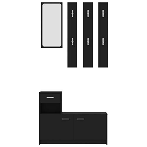 Festnight Set Mobile da Ingresso Nero 100x25x76,5 cm in Truciolato,Contiene Un mobiletto, Specchio e Tre Appendiabiti a Parete