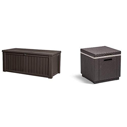 Keter Kissenbox, regenfest, Rockwood Gartenkisenbox, Braun, 570L Balkon Kissenbox & Allibert by Keter Beistelltisch Ice Cube, braun, Kühlbox, Deckel abnhembar, Flache Rattanoptik