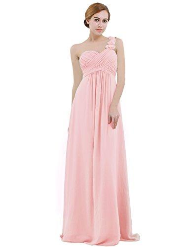 IEFIEL Vestido Largo Gasa Mujer Vestido de Boda Dama de Honor Chica Vestido de Flores Fiesta Cóctel Ceremonia Un Hombro Descubierto Elegante Rosa 38