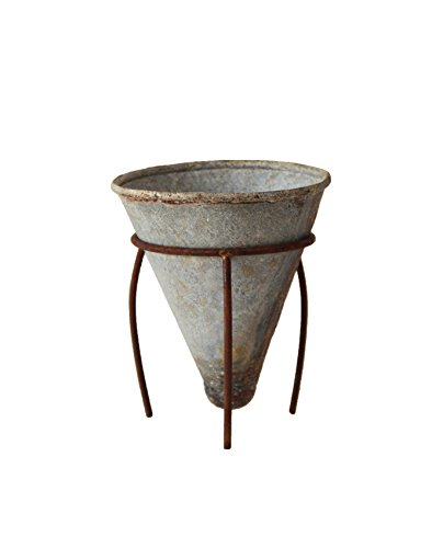 Creative Co-op Tin Cone Shaped Flower Pot with Metal Stand